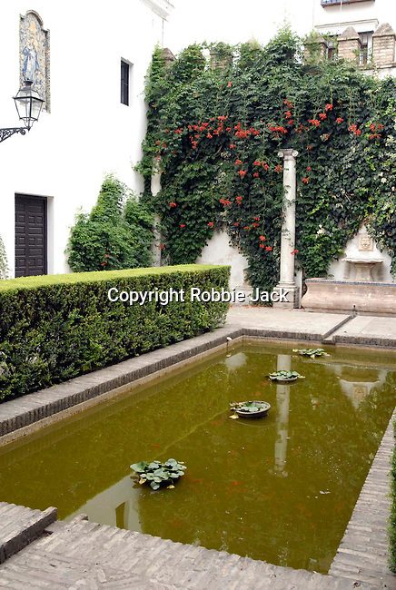 The gardens at El Alcazar in Seville, Spain.