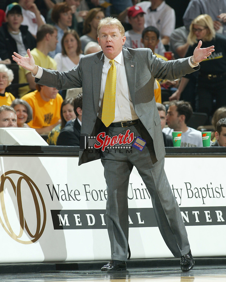 Wake Forest head coach Skip Prosser looks for an answer during the second half of the Demon Deacons 81-70 loss to North Carolina State, March 6, 2004.