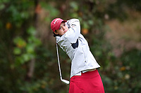 CHAPEL HILL, NC - OCTOBER 13: Emilie Overas of the University of Alabama tees off at UNC Finley Golf Course on October 13, 2019 in Chapel Hill, North Carolina.