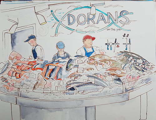 Dorans on the Pier at Howth in County Dublin Illustration by