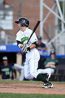 Jamestown Jammers second baseman Erik Forgione (25) at bat during a game against the Vermont Lake Monsters on July 13, 2014 at Russell Diethrick Park in Jamestown, New York.  Jamestown defeated Vermont 6-2.  (Mike Janes/Four Seam Images)
