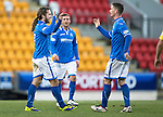 St Johnstone v Livingston.....30.11.13     Scottish Cup 4th Round<br /> Stevie May celebrates his goal with Gary McDonald<br /> Picture by Graeme Hart.<br /> Copyright Perthshire Picture Agency<br /> Tel: 01738 623350  Mobile: 07990 594431