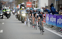 3 Etixx-Quickstep riders versus 1 Sky rider race to the finish; seems like the Ian Stannard (GBR/Sky) is fighting a lost cause... but last years winner (Stannard) is in superior shape today!<br /> Niki Terpstra (NLD/Etixx-QuickStep), Stijn Vandenbergh (BEL/Etixx-QuickStep) &amp; Tom Boonen (BEL/Etixx-QuickStep) are no match for him today<br /> <br /> Omloop Het Nieuwsblad 2015