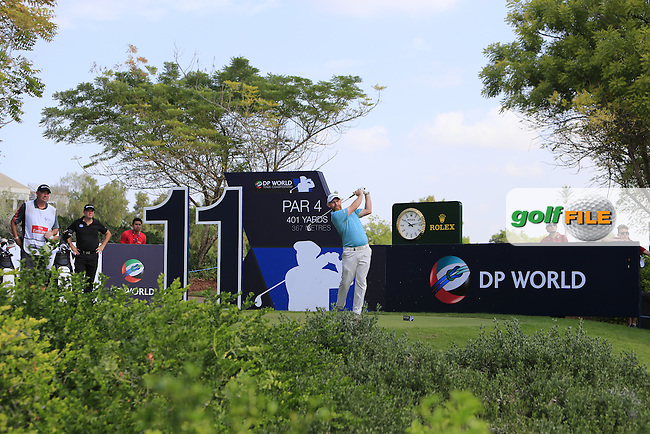 Stephen Gallacher (SCO) on the 11th tee during Round 3 of the DP World Tour Championship at the Earth course,  Jumeirah Golf Estates in Dubai, UAE,  21/11/2015.<br /> Picture: Golffile | Thos Caffrey<br /> <br /> All photo usage must carry mandatory copyright credit (&copy; Golffile | Thos Caffrey)