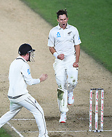 New Zealand bowler Trent Boult celebrates the wicket of England captain Joe Root.<br /> New Zealand Blackcaps v England. 1st day/night test match. Eden Park, Auckland, New Zealand. Day 4, Sunday 25 March 2018. &copy; Copyright Photo: Andrew Cornaga / www.Photosport.nz
