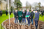 Easter Rising ceremony - Formal raising of the National Flag at Páirc An Phiarsaigh, Denny Street, Tralee by Mayor Thomas McEllistrim on Sunday. Pictured with the Tralee Pipe and Drum were John Drummey, chamber alliance, cllr Norma Foley, Cllr Sam Locke, Tralee Mayor Thomas McEllistrim, Dr. John O'Callaghan and Garda Inspector John Brennan