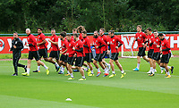 PLayers warm up during the Wales Training Session at the Vale Resort, Hensol, Wales, UK. Tuesday 29 August 2017