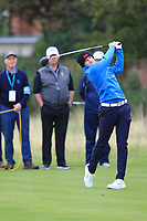 Sandy Scott (GB&I) on the 3rd during the Foursomes at the Walker Cup, Royal Liverpool Golf CLub, Hoylake, Cheshire, England. 07/09/2019.<br /> Picture Thos Caffrey / Golffile.ie<br /> <br /> All photo usage must carry mandatory copyright credit (© Golffile | Thos Caffrey)
