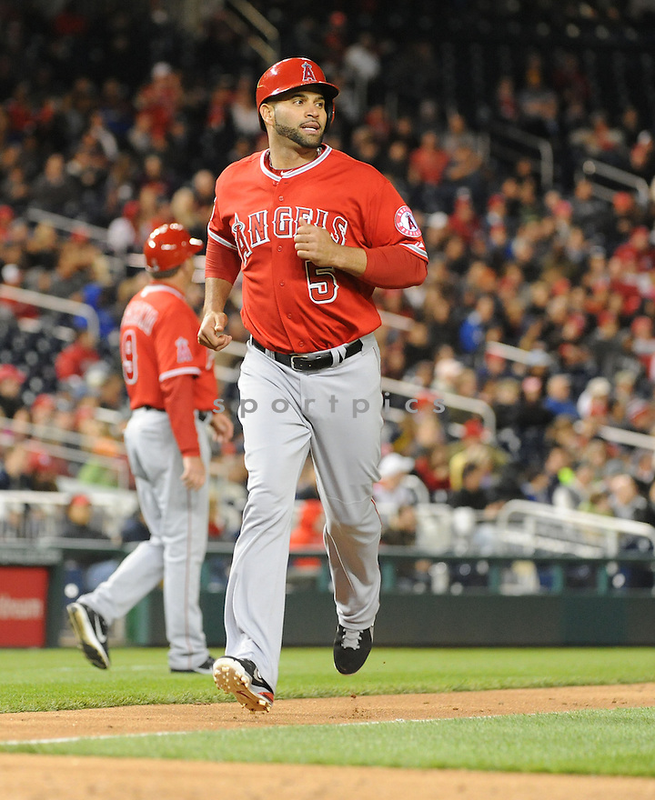 Los Angeles Angels Albert Pujols (5) during a game against the Washington Nationals on April 23, 2014 at Nationals Park in Washington, DC. The Nationals beat the Angels 5-4.