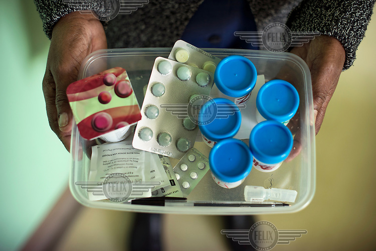 A tray of drugs used to treat XDR-TB. A patient has to take about 20 pills daily for two years to complete the treatment.