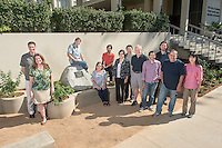From left, Michael Hill, Linda Lasater, Donald Deardorff, Patricia Flick, Andrew Udit, Phoebe Dea, Weidong Wang, Chris Craney, Jeffrey Cannon, Derek Ross, Aram Nersissian and Keiko Yokoyama. Chemistry faculty pose in Dr. O's Garden, dedicated to the memory of Tetsuo Otsuki, professor of chemistry, next to the Norris Hall of Chemistry, Oct. 29, 2014. (Photo by Marc Campos, Occidental College Photographer)