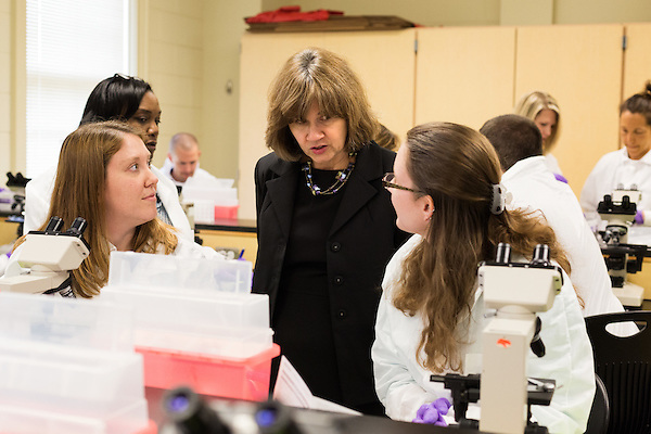 May 7, 2014. Durham, North Carolina.<br />  Program Director Karen Hills, center, speaks to students in a GYN lab.<br />  The Duke University School of Medicine Physician Assistant Program is one of the top programs in the country for the training of physician's assistants. PA's are in high demand, and are taking over many of the tasks traditionally done by MD's, so the competition for the program is intense. In the most recent class, there were only 88 spots for a application pool of 1600.