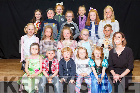 Children, pictured with Sharon Costello, from the Sharon Costello Speech & Drama school who took part in their end term show in the Clubrooms Castlegrgeory on Monday evening.