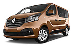 Stock pictures of low aggressive front three quarter view of a 2015 Renault Trafic Luxe 5 Door Van