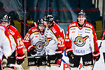 Stockholm 2014-01-08 Ishockey SHL AIK - Lule&aring; HF :  <br />  Lule&aring;s Linus Klasen , Lule&aring;s Per Ledin och Lule&aring;s Daniel Gunnarsson jublar efter Lule&aring;s Per Ledin gjort 4-0<br /> (Foto: Kenta J&ouml;nsson) Nyckelord:  jubel gl&auml;dje lycka glad happy