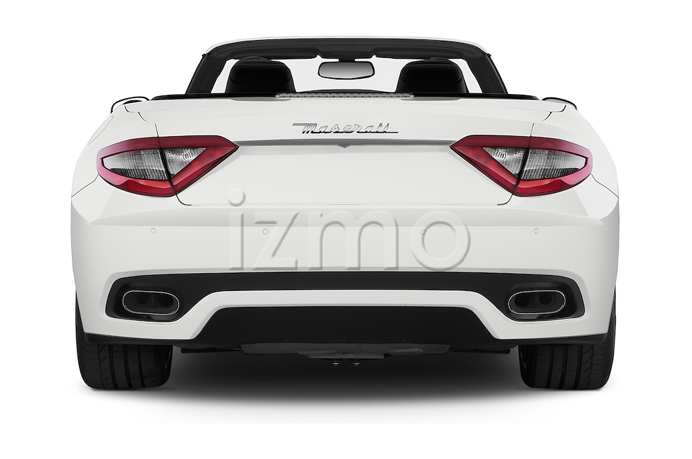 Straight rear view of a 2014 Maserati GranTurismo Convertible Sport Door convertible Rear View  stock images
