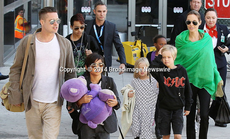 Pictured: Brad Pitt, Angelina Jolie, Shiloh Nouvel Jolie-Pitt, Maddox Chivan Jolie-Pitt, Pax Thien Jolie-Pitt, Knox Leon Jolie-Pitt, Zahara Marley Jolie-Pitt, Vivienne Marcheline Jolie-Pitt<br /> Mandatory Credit &copy; Ben Foster/Broadimage<br /> Brad Pitt, Angelina Jolie and family arriving at the Los Angeles International Airport<br /> <br /> 2/5/14, Los Angeles, California, United States of America<br /> <br /> Broadimage Newswire<br /> Los Angeles 1+  (310) 301-1027<br /> New York      1+  (646) 827-9134<br /> sales@broadimage.com<br /> http://www.broadimage.com<br /> <br /> <br /> Pictured: Brad Pitt, Angelina Jolie, Shiloh Nouvel Jolie-Pitt, Maddox Chivan Jolie-Pitt, Pax Thien Jolie-Pitt, Knox Leon Jolie-Pitt, Zahara Marley Jolie-Pitt, Vivienne Marcheline Jolie-Pitt<br /> Mandatory Credit &copy; Ben Foster/Broadimage<br /> Brad Pitt, Angelina Jolie and family arriving at the Los Angeles International Airport<br /> <br /> 2/5/14, Los Angeles, California, United States of America<br /> Reference: 020514_HDLA_BDG_024<br /> <br /> Broadimage Newswire<br /> Los Angeles 1+  (310) 301-1027<br /> New York      1+  (646) 827-9134<br /> sales@broadimage.com<br /> http://www.broadimage.com