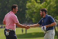 Jon Rahm (ESP) shakes hands with Louis Oosthuizen (RSA) following round 4 of the Fort Worth Invitational, The Colonial, at Fort Worth, Texas, USA. 5/27/2018.<br /> Picture: Golffile | Ken Murray<br /> <br /> All photo usage must carry mandatory copyright credit (© Golffile | Ken Murray)