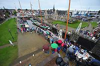 ZEILEN: LEMMER: Lemster sluis, 09-08- 2016, de SKS skûtsjes van Lemmer, Langweer, Leeuwarden en Akkrum tijdens de intocht, ©foto Martin de Jong