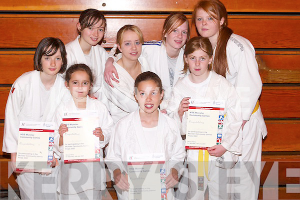 JUDO: Judo team from around Kerry who were winners in the girls judo at The HSE Community Games Munster Provincial Finals at Tralee Sports & Leisure Centre on Saturday. They were Jade Brosnan (Killarney), Aine O'Connor (Ardfert), Megan Fahy (Ardfert), Jennifer Fitzgerald (Killarney), Emma Fitzgerald, Elaine Breen, Alicia O'Connor and Nickayla Brosnan (Tralee)..