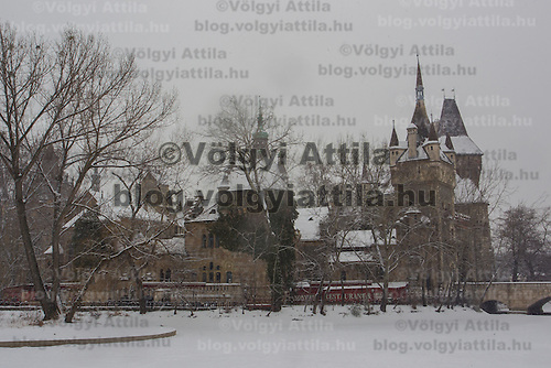 Snow covered castle in Budapest, Hungary on February 17, 2012. ATTILA VOLGYI