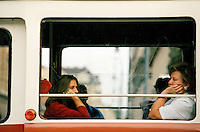 Women sitting on a tram n Budapest, Hungary