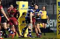 Max Green of Bath United celebrates his try with team-mates. Aviva A-League match, between Bath United and Harlequins A on March 26, 2018 at the Recreation Ground in Bath, England. Photo by: Patrick Khachfe / Onside Images