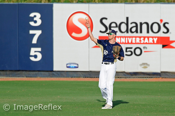 16 February 2013:  FIU outfielder Nathan Burns (10) throws the ball back to the infield as the FIU Golden Panthers defeated the Stony Brook University Seawolves, 10-4, at University Park Stadium in Miami, Florida.