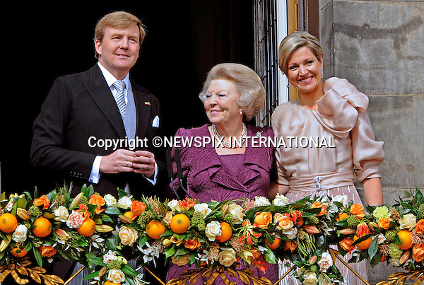 "30.04.2013; Amsterdam:KING WILLEM-ALEXANDER AND QUEEN MAXIMA WITH FORMER QUEEN BEATRIX.after the Abdication, appear on the balcony of the Royal Palace, Amsterdam, The Netherlands..Mandatory Credit Photos: ©NEWSPIX INTERNATIONAL..**ALL FEES PAYABLE TO: ""NEWSPIX INTERNATIONAL""**..PHOTO CREDIT MANDATORY!!: NEWSPIX INTERNATIONAL(Failure to credit will incur a surcharge of 100% of reproduction fees)..IMMEDIATE CONFIRMATION OF USAGE REQUIRED:.Newspix International, 31 Chinnery Hill, Bishop's Stortford, ENGLAND CM23 3PS.Tel:+441279 324672  ; Fax: +441279656877.Mobile:  0777568 1153.e-mail: info@newspixinternational.co.uk"