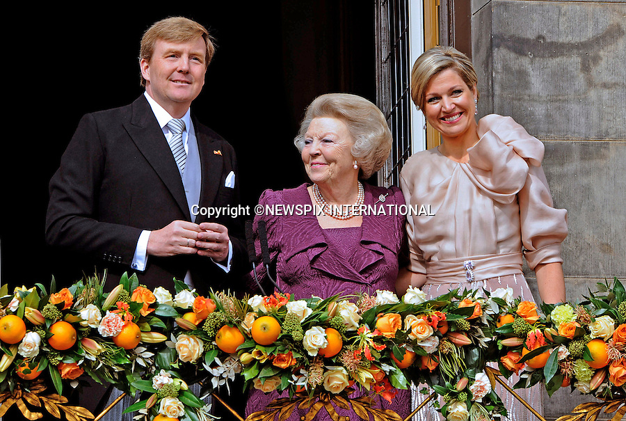 """30.04.2013; Amsterdam:KING WILLEM-ALEXANDER AND QUEEN MAXIMA WITH FORMER QUEEN BEATRIX.after the Abdication, appear on the balcony of the Royal Palace, Amsterdam, The Netherlands..Mandatory Credit Photos: ©NEWSPIX INTERNATIONAL..**ALL FEES PAYABLE TO: """"NEWSPIX INTERNATIONAL""""**..PHOTO CREDIT MANDATORY!!: NEWSPIX INTERNATIONAL(Failure to credit will incur a surcharge of 100% of reproduction fees)..IMMEDIATE CONFIRMATION OF USAGE REQUIRED:.Newspix International, 31 Chinnery Hill, Bishop's Stortford, ENGLAND CM23 3PS.Tel:+441279 324672  ; Fax: +441279656877.Mobile:  0777568 1153.e-mail: info@newspixinternational.co.uk"""