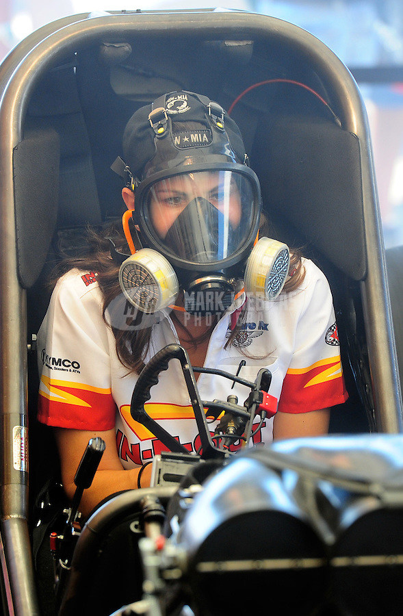 Sept. 23, 2011; Ennis, TX, USA: NHRA funny car driver Melanie Troxel during qualifying for the Fall Nationals at the Texas Motorplex. Mandatory Credit: Mark J. Rebilas-