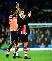 Lincoln City's Michael O'Connor applauds the fans at the final whistle<br /> <br /> Photographer Andrew Vaughan/CameraSport<br /> <br /> Emirates FA Cup Third Round - Everton v Lincoln City - Saturday 5th January 2019 - Goodison Park - Liverpool<br />  <br /> World Copyright &copy; 2019 CameraSport. All rights reserved. 43 Linden Ave. Countesthorpe. Leicester. England. LE8 5PG - Tel: +44 (0) 116 277 4147 - admin@camerasport.com - www.camerasport.com