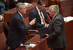 Senator for the Centre Alliance Rex Patrick (R), speaks with Senator Mathias Cormann (L) during a division in the Senate at Parliament House, Canberra, Australia, on Wednesday, July 4, 2019. Photographer: Mark Graham/Bloomberg