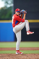 GCL Phillies relief pitcher Jhon Nunez (84) during the first game of a doubleheader against the GCL Blue Jays on August 15, 2016 at Florida Auto Exchange Stadium in Dunedin, Florida.  GCL Phillies defeated the GCL Blue Jays 7-5 in a continuation of a game originally started on July 30th.  (Mike Janes/Four Seam Images)