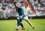 Pablo Hernandez of RC Celta de Vigo fights for the ball with Luke Modric of Real Madrid in action during their La Liga match at the Santiago Bernabeu Stadium between Real Madrid and RC Celta de Vigo on 27 August 2016 in Madrid, Spain. Photo by Diego Gonzalez Souto / Power Sport Images