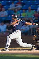 Cirilo Cumberbatch (29) of the Kinston Indians follows through on his swing versus the Winston-Salem Warthogs at Ernie Shore Field in Winston-Salem, NC, Saturday, May 17, 2008.