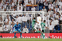 2nd November 2019; Estadio Santiago Bernabeu, Madrid, Spain; La Liga Football, Real Madrid versus Real Betis; Sergio Ramos (Real Madrid)  wins the header from Alex Moreno (Betis) but the effort goes wide of the goal - Editorial Use