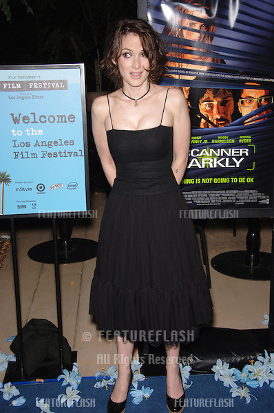 "Actress WINONA RYDER at the Los Angeles Film Festival premiere of her new movie ""A Scanner Darkly"" at the John Anson Ford Amphitheatre, Los Angeles..June 29, 2006  Los Angeles, CA.© 2006 Paul Smith / Featureflash"