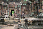 Angkorian temple Banteay Srei (late 10th century) 967.<br /> Doorway on right into northern tower sanctuary.Open doorway into Mandapa.<br /> Banteay Srei temple is situated 20km north of Angkor, built during the reign of Rajendravarman by Yajnavaraha, one of his counsellors. In antiquity Isvarapura was a small city that grew up around the temple. Banteay Srei was dedicated to the worship of Shiva, the foundation stele describes the consecration of the linga Tribhuvanamahesvara (Lord of the three worlds) in 967.