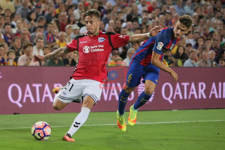 League Santander 2016/2017. Game: 3.<br /> FC Barcelona vs Deportivo Alaves: 1-2.<br /> Kiko Femenia vs Denis Suarez.