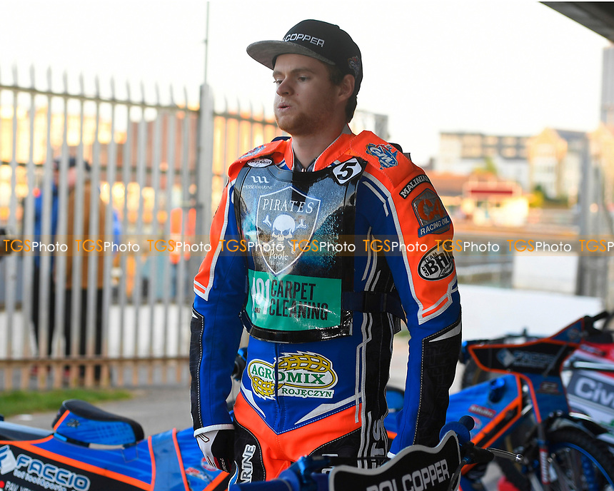 Brady Kurtz of Poole Pirates tries to relax in  the pits during Poole Pirates vs King's Lynn Stars, SGB Premiership Shield Speedway at The Stadium on 11th April 2019