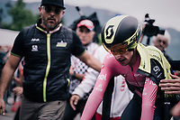 Simon Yates (GBR/Mitchelton-Scott) crossing the finish after the iTT and having comfortably retained his leaders jersey<br /> <br /> stage 16: Trento &ndash; Rovereto iTT (34.2 km)<br /> 101th Giro d'Italia 2018