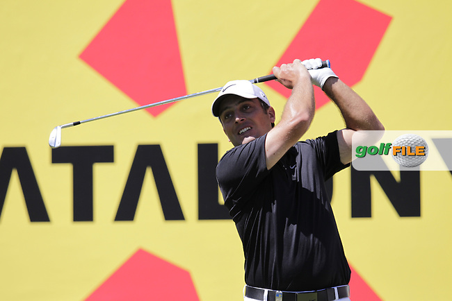 Francesco Molinari (ITA) tees off the par3 8th tee during Thursday's Round 1 of the 2014 Open de Espana held at the PGA Catalunya Resort, Girona, Spain. Wednesday 15th May 2014.<br /> Picture: Eoin Clarke www.golffile.ie