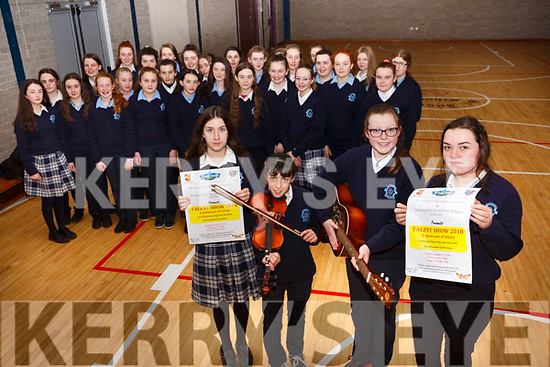 Castleisland Pres Secondary School launching their talent show. in the school gym on Friday last. <br /> Front l-r, Laura Manley (Currow), Kelly-Anne Nix (Knocknagoshel), Caitlin Curtain (Knocknagoshel) and Katie O&rsquo;Connor (Castleisland).