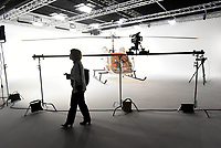 NWA Democrat-Gazette/FLIP PUTTHOFF <br /> A visitor tours the sound stage Feb. 5 2019 during the open house at Farm Studios in the Hiwasse community. The new studio is designed to serve the movie, television and media industries.