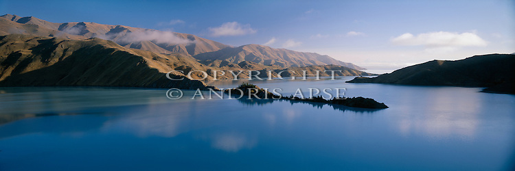 Early morning on Lake Benmore. Otago Region. New Zealand