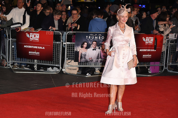 Dame Helen Mirren at the premiere of &quot;Trumbo&quot;, as part of the London Film Festival 2015, at the Odeon Leicester Square, London.<br /> October 8, 2015  London, UK<br /> Picture: Steve Vas / Featureflash