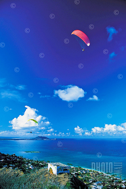 Paragliding over Windward Oahu, Hawaii