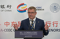 Gyorgy Matolcsy governor of the Hungarian National Bank delivers his speech during the opening ceremony of the 16+1 China-CEEC Central Bank Governors' Meeting in Budapest, Hungary on Nov. 9, 2018. ATTILA VOLGYI