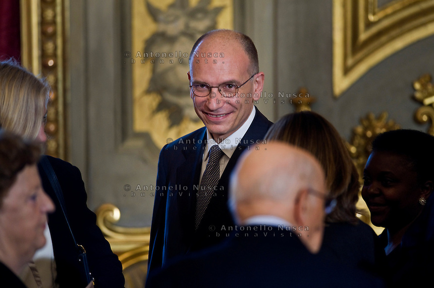 Enrico Letta, presidente del Consiglio  durante la cerimonia del giuramento del nuovo Governo Letta nel Salone delle Feste del Quirinale.